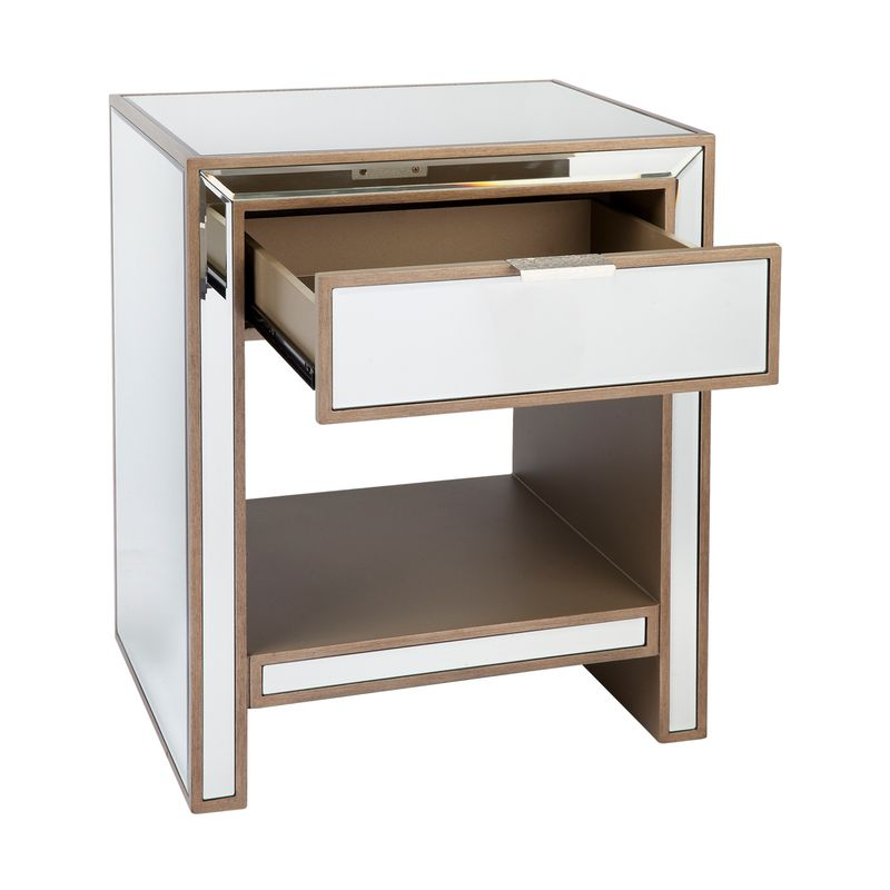 Sabrina Mirrored Bedside Table -Small Antique Gold