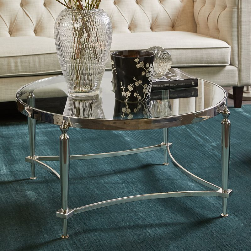 Jak Glass Coffee Table - Nickel