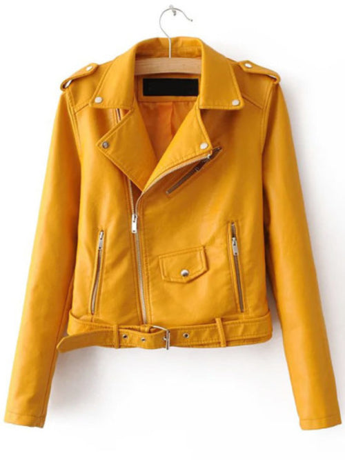 Yellow Faux Leather Belted Moto Jacket With Zipper - A&J Fashion Boutique