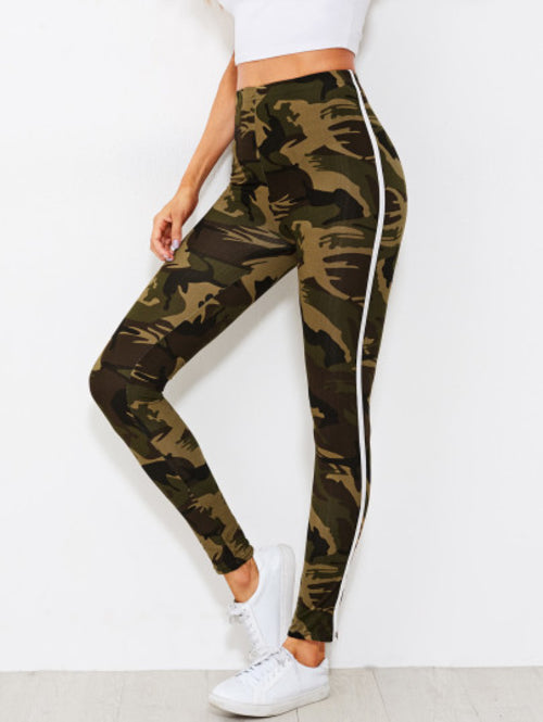 Camo Print Tape Side Leggings - A&J Fashion Boutique