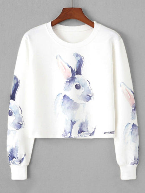 Rabbit Print Crop Sweatshirt - A&J Fashion Boutique