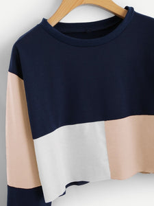 Cut And Sew Crop Sweatshirt - A&J Fashion Boutique