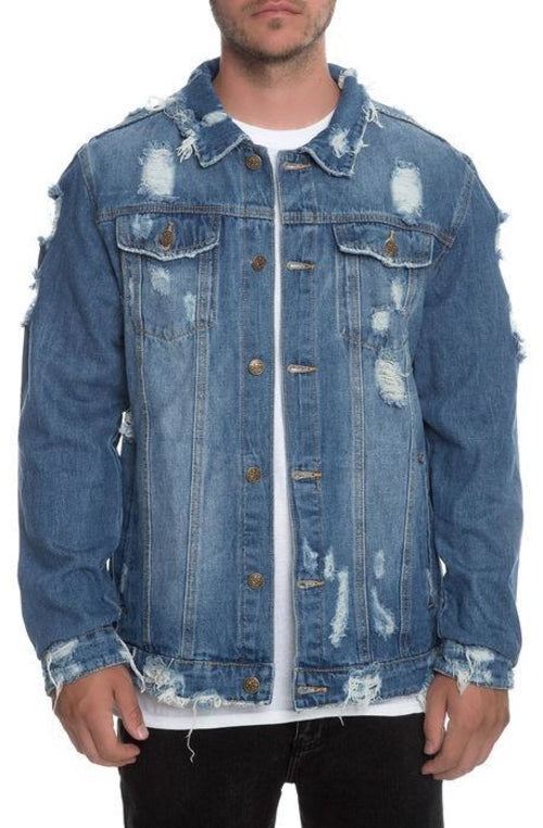 Distressed Ripped Denim Jacket in Indigo - A&J Fashion Boutique