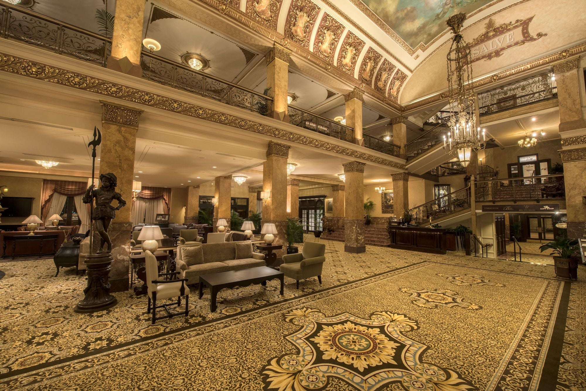 An ornately decorated lobby at the Pfister Hotel.