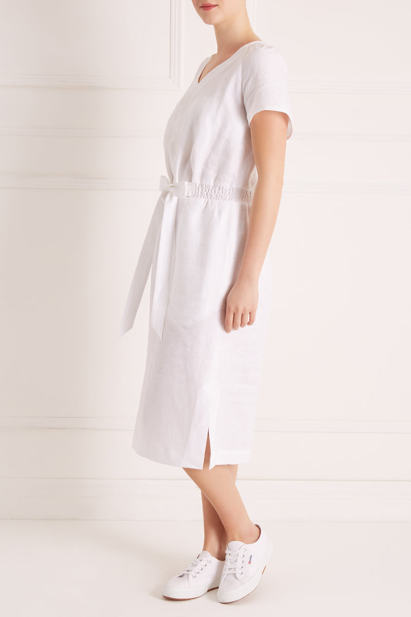 Stacey Linen Dress Petite, White