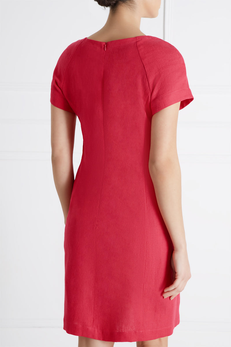 Anastasie Linen Dress, Raspberry