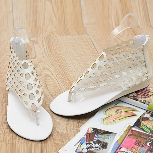 e0e8e1de75ac86 Sexy Pure Color Fish Scales Hollow Clip Toe Sandals