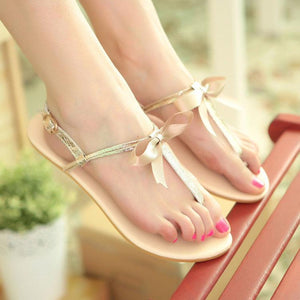 8bfeabf0c97cc2 Sweet Pure Color Clip Toe Sandals With Bow-Knot
