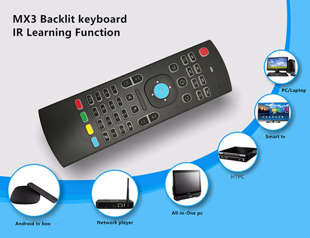 e590e14ec1a Load image into Gallery viewer, Air Mouse Backlit Remote Mini keyboard  Wireless MX3 smart remote ...