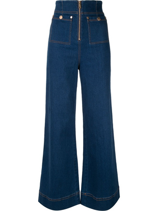 Front zip pocket wide leg jeans