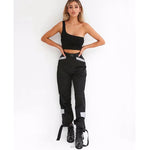 High Waist Loose Beamed Workwear Casual Pants