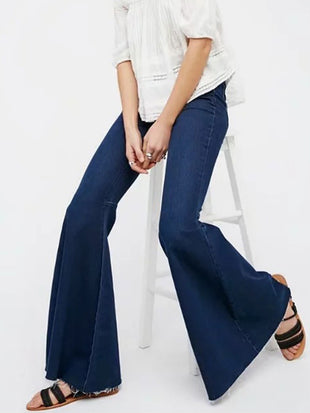 Vintage High Waist Denim Flared Pants