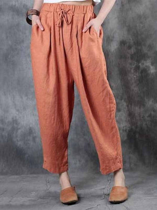 Solid Color Casual Cotton Linen Pants