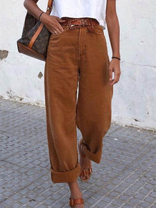Women's Pure Color Straight Casual Pants