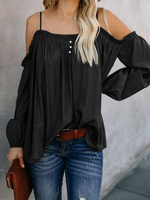 Cold Shoulder Strap Solid Color Blouses