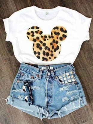 Leopard Print Mickey Mouse Short Sleeve T-shirt Tee