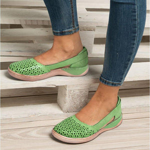 Woman Round-toe Hollow-out Breathable Flat Sandals