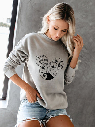 Mickey Mouse All Saints' Day Round Collar Long Sleeve Sweatshirt