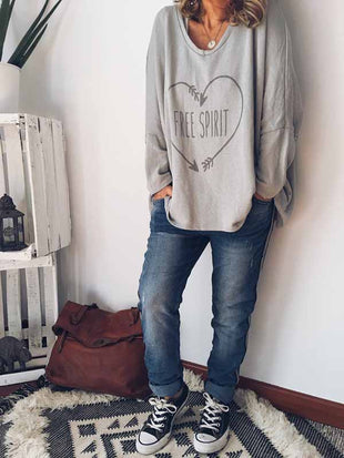Letter printed long sleeve sweater