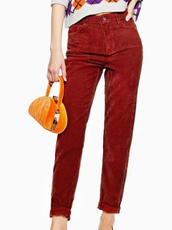 Retro Fashion High Waisted Solid Color Corduroy Jeans