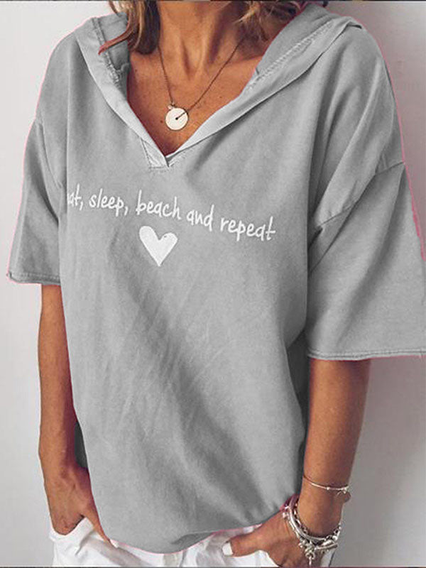Plus size letter printed hooded T-shirt