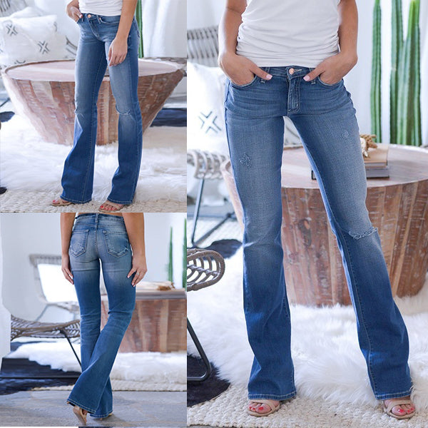 70s Stretch Hip Hugger Street Style Bell Bottom Jeans