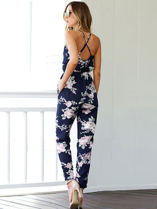 Floral Printed Wrap Jumpsuits