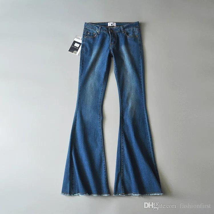 90s  Women's High Waist  Flare Leg Jeans Stretch Pants Tall Long