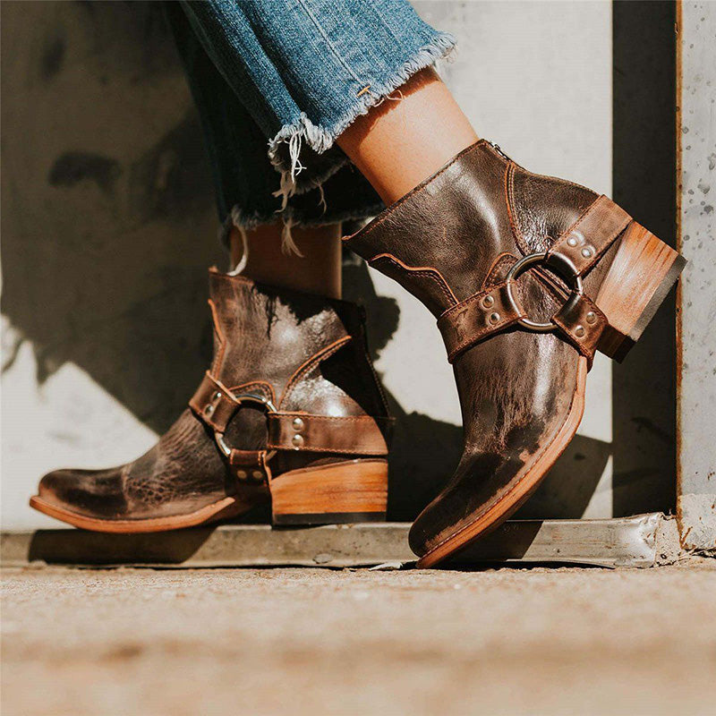 Belt Buckle Thick Heel Booties