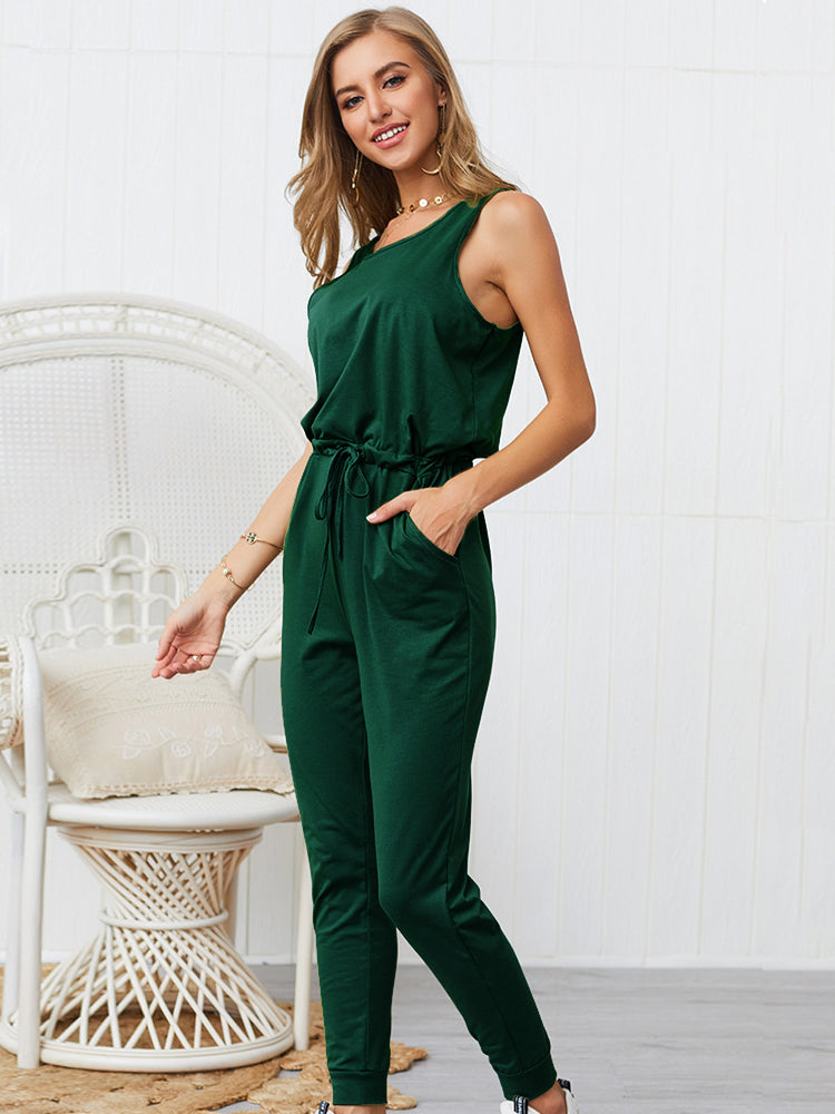 Solid Color Jumpsuit With Pocketed