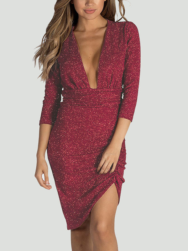Deep V-neck Shining Crystal irregular Dress