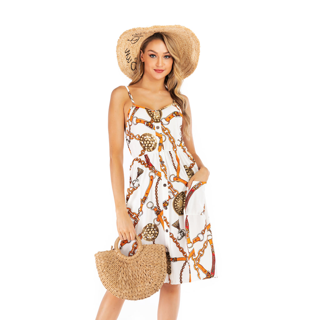 Printed Slip Dress Sleeveless Dress