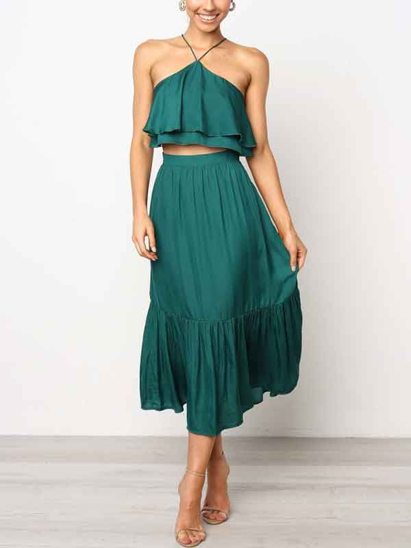 Summer Fashion Backless Women's Half-length Dress