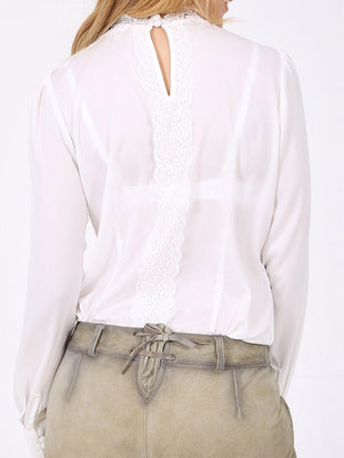 Women's White Long Sleeve Lace Shirt