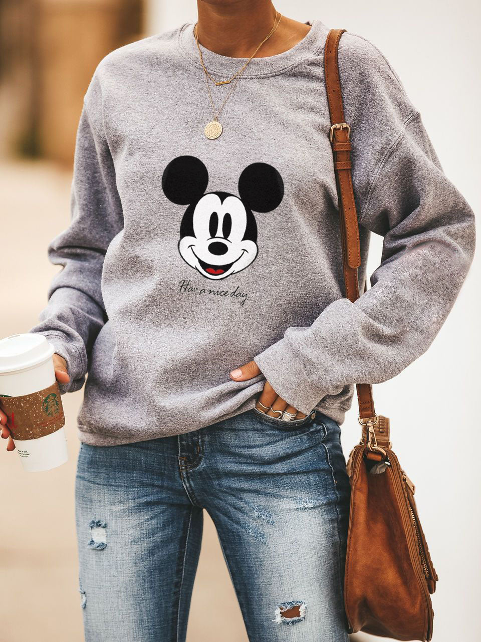 Mickey Mouse Printed Sport Hoodie With Long Sleeves