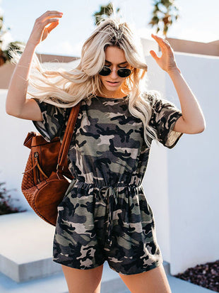 Camouflage Pocket Tie Jumpsuits