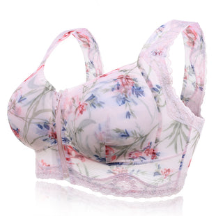 Front Zipper Flower Bra