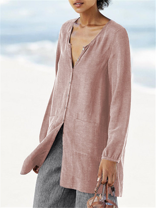 Cotton Linen Long-Sleeved Shirt
