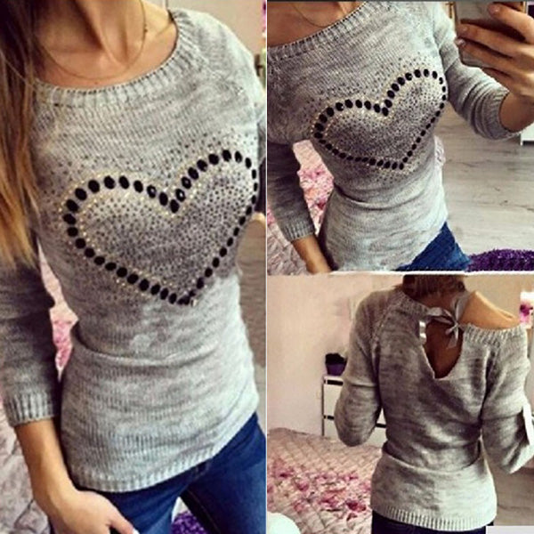 Sexy Heart Printed Knitted Long Sleeve Casual Bowknot Sweaters
