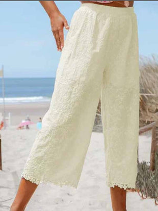Cotton Linen Lace Stitching Pants