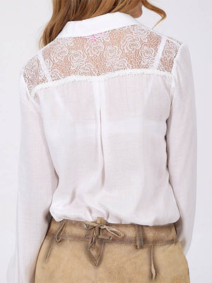 Women's Solid Color Long Sleeve Lace Shirt