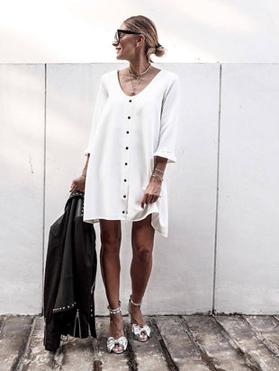 Button Down Loose Fit Mini Dress