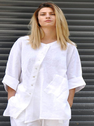 Cotton Linen Loose Long Shirt