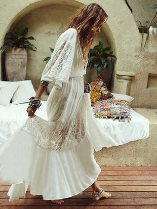 Bohemian lace stitching beach sunscreen dress