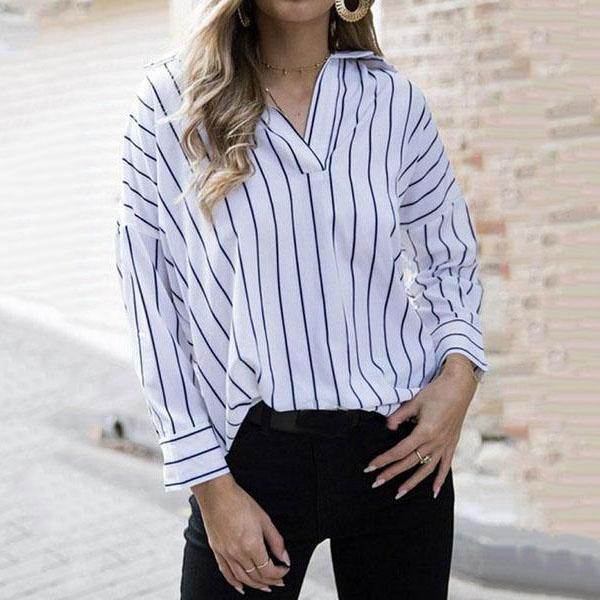 V Neck  Loose Fitting  Striped  Blouses