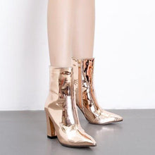 Load image into Gallery viewer, Fashion Bright Patent Leather Chunky Heel Boots