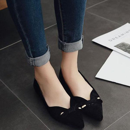 Sexy Flat Shoes With Bowed Suede Pointed Shoes