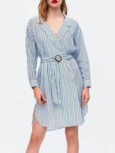 Load image into Gallery viewer, V Collar Stripes Long Sleeve Shift Dress