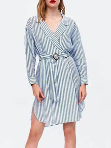 V Collar Stripes Long Sleeve Shift Dress