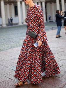 Retro Temperament Round Collar Printing Long-Sleeved Maxi Dress